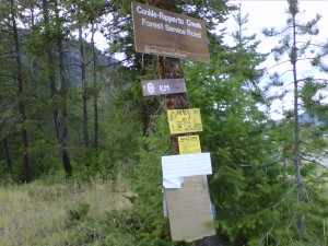 The sign that marks the way to Conkle Lake Provincial Park