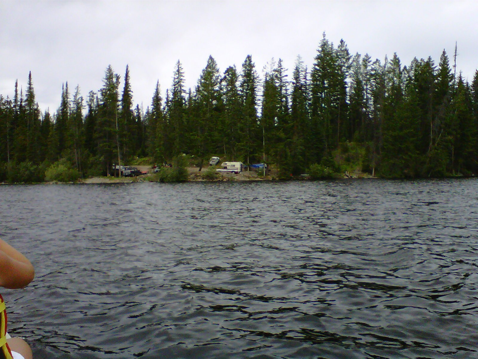 Free Camping at Oyama Lake Recreation Site view from the canoe