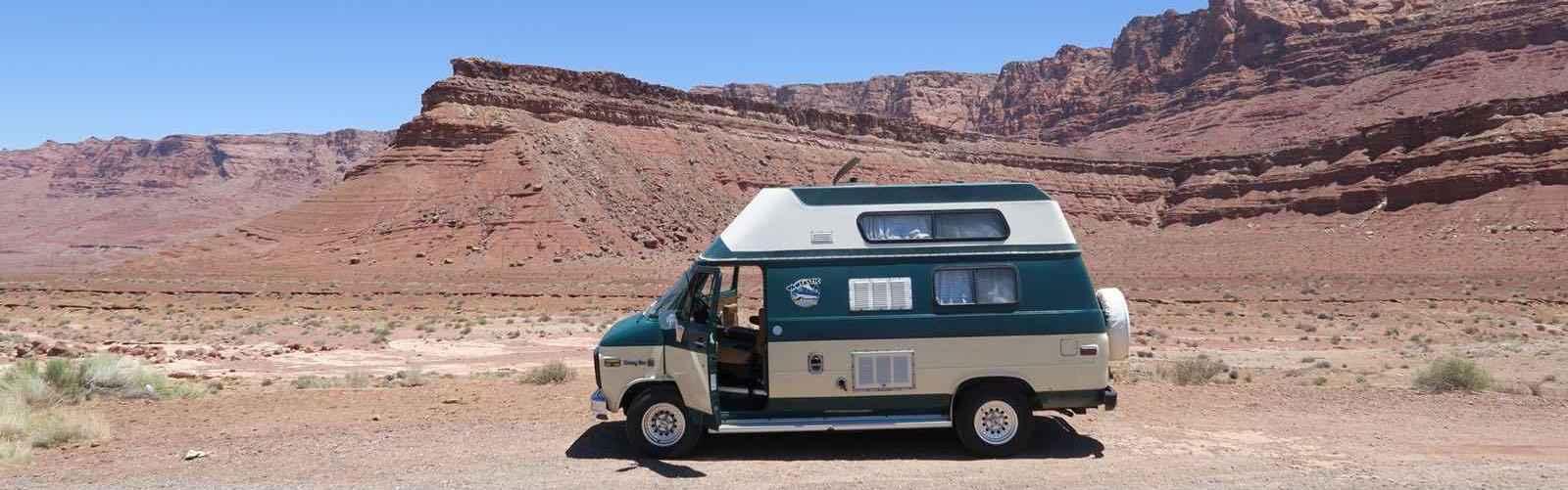 Camper van RV rented from Vantastic Rentals and shown here in the prairies.