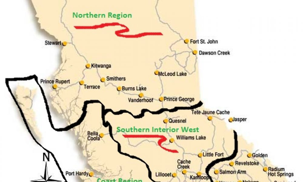 Camping Areas of British Columbia are Coast, Northern, Southern Interior West and Southern Interior East